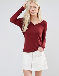 Vila V Neck Top With Open Cowl Back Cabernet Red