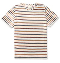 Oliver Spencer Pencer Lim Fit Triped Melange Cotton Jerey T Hirt Cream