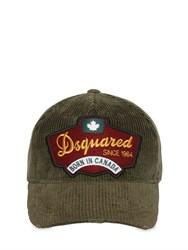 Dsquared Logo Patch Corduroy Baseball Hat