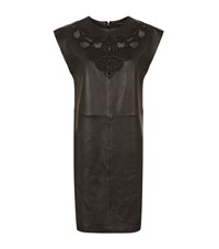 Set Leather Embroidered Dress Female Black