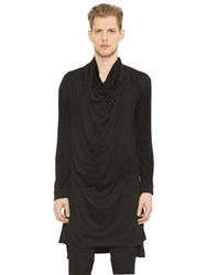 Balmain Draped Wool Jersey Long T Shirt