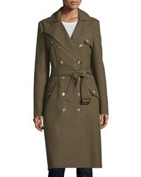 Michael Kors Double Breasted Mini Check Trench Coat Barley Olive Brown Green Women's
