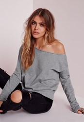 Missguided Loop Back Raw Edge Cropped Sweater Grey Grey