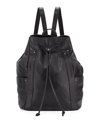 Kooba Connor Leather Drawstring Sling Backpack Black