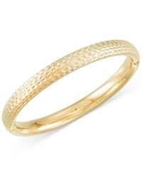 Signature Gold Textured Bangle Bracelet In 14K Gold Yellow Gold