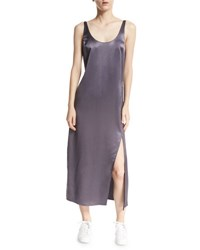 Diane Von Furstenberg Lyla Charmeuse Slip Dress Rock Black