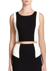 Alice Olivia Colorblock Crop Top Black White