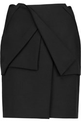 Roland Mouret Belle Stretch Wool Crepe Mini Skirt Black