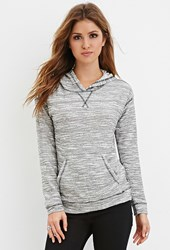 Forever 21 Heathered Knit Hoodie Black Cream