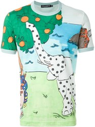 Dolce And Gabbana Elephant Print T Shirt Green