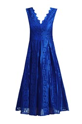 Jolie Moi Striped Pattern Lace Prom Dress Royal Blue