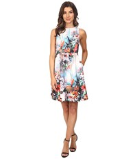 Adrianna Papell Placed Print Fit Flare Scuba Dress Coral Multi Women's Dress