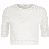 River Island Womens White Embroidered Mesh Crop Top