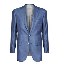 Stefano Ricci Cashmere And Silk Check Jacket Male Blue