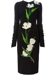 Dolce And Gabbana Tulip Applique Ruched Dress Black