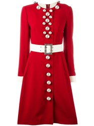 Dolce And Gabbana Belted Buttoned Dress Red