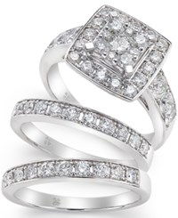 Macy's Diamond Engagement Ring Bridal Set 2 Ct. T.W. In 14K White Gold No Color