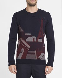 Commune De Paris Navy Chaos Patterned Sweater Blue