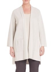 Eileen Fisher Plus Size Silk And Cotton Interlock Kimono Cardigan Bone
