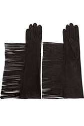 Lanvin Fringed Suede Gloves Black