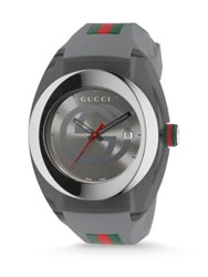 Gucci Sync Stainless Steel Rubber Strap Watch Grey