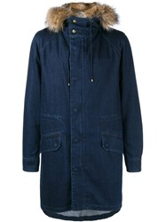 Yves Salomon Rabbit Fur Lined Denim Parka Blue