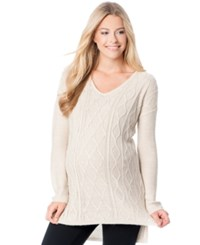 Motherhood Maternity Ribbed V Neck Sweater Oatmeal