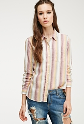Forever 21 Multi Striped Flannel Shirt Cream Yellow