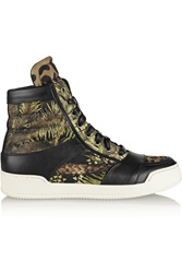 Balmain Kol Printed Canvas High Top Sneakers Brown
