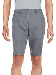 Saks Fifth Avenue Black Solid Woven Flat Front Shorts Dark Charcoal