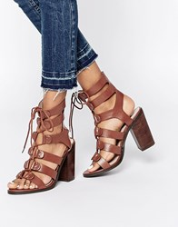 Lost Ink Roman Ghillie Lace Up Heeled Sandals Tan