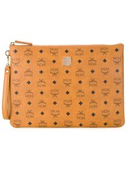 Mcm Logo Print Zip Clutch Bag Brown