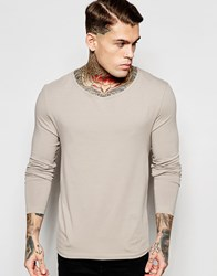 Asos Extreme Muscle Long Sleeve T Shirt With Drape Neck In Gray Gray