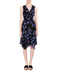 Proenza Schouler Floral Print Handkerchief Hem Wrap Dress Black Cobalt Flower Black Blue