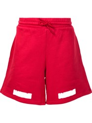 Off White Brushed Diagonals Shorts Red