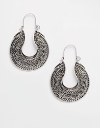 Reclaimed Vintage Grecian Hoop Earrings Silver
