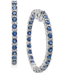 Macy's Sapphire 7 1 2 Ct. T.W. And Diamond 1 Ct. T.W. Hoop Earrings In 14K White Gold Blue
