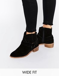 Asos Anya Wide Fit Suede Flat Boots Black