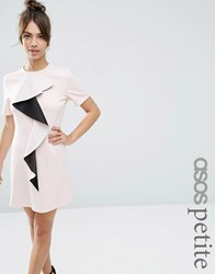 Asos Petite Frill Detail Shift Dress Nude With Black Pink