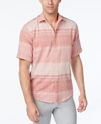 Tasso Elba Men's Big And Tall Cross Dye Plaid Short Sleeve Shirt Classic Fit Coral Depth