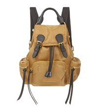 Burberry Shoes And Accessories Mini Leather Trimmed Rucksack Female Camel