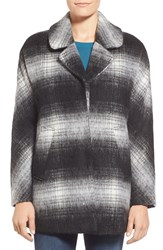 Sam Edelman 'Erin' Blurry Plaid Coat Black Plaid
