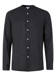Topman Ltd Black Linen Rich Stand Collar Shirt