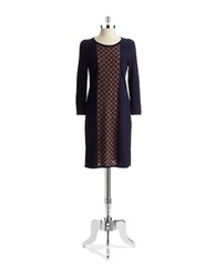 Spense Diamond Patterned Sweater Dress Navy