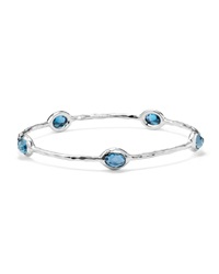 Ippolita Sterling Silver Rock Candy 8 Stone Bangle In London Blue Topaz