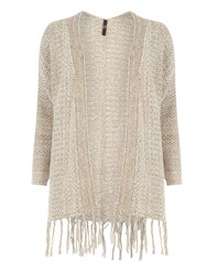 Evans Tan Honeycomb Tassle Cardigan Brown