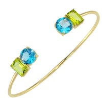 Intua Jewellery Blue Topaz And Peridot Open Bangle Gold Blue Gold Green
