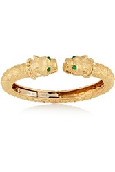 David Webb Greek Lion 18 Karat Gold Emerald Bracelet