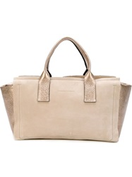 Brunello Cucinelli Metallic Panelled Tote Nude And Neutrals