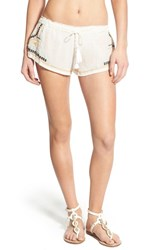 Women's Rip Curl 'Tribal Myth' Embroidered Shorts White